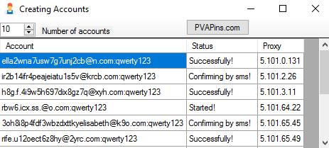 Процесс создания аккаунтов - Skout Bot
